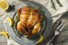 Домодельный цыпленок Rotisserie с травами стоковое фото