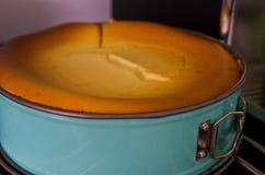 Домодельный чизкейк в печи Стоковое фото RF