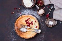 Домодельный чизкейк с свежими ягодами красной смородины Стоковая Фотография RF