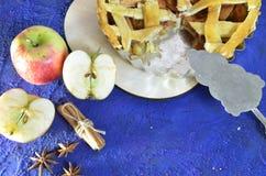 Домодельный яблочный пирог с анисовкой циннамона, кардамона и звезды Традиционные торты осени для чая r стоковое фото rf