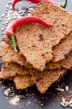 Домодельный Crispbread Chili кукурузной муки Стоковые Изображения