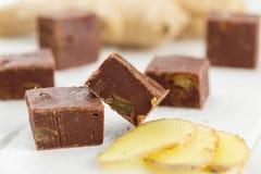 Домодельный fudge шоколада с имбирем Стоковое Изображение