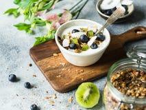 Домодельный granola с йогуртом, голубиками, кивиом, кокосом в белом шаре Очень вкусный здоровый завтрак на серой таблице стоковое фото