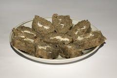Домодельный pate печени с маслом в крене формы стоковые фотографии rf