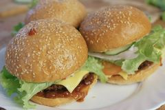 3 домодельных бургера на белой плите Взгляд со стороны Стоковое Изображение RF