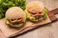 2 домодельных вегетарианских бургера Стоковое фото RF