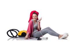 Домохозяйка изолированная на белой предпосылке Стоковая Фотография