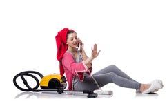Домохозяйка изолированная на белой предпосылке Стоковая Фотография RF
