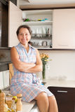 Домохозяйка на кухне стоковые изображения