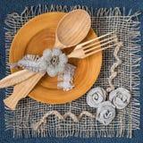 Домодельная салфетка мешковины для таблицы Стоковые Изображения