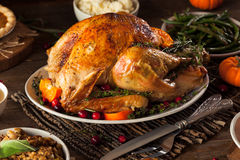 Домодельное зажаренное в духовке официальный праздник в США в память первых колонистов Массачусетса Турция Стоковые Изображения