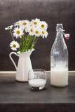 Домодельное молоко кокоса в стекле рядом с маргаритками вол-глаза Стоковые Изображения RF