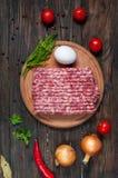 Домодельное сырцовое семенить мясо с яичком и травами крупным планом, взгляд сверху Стоковая Фотография RF