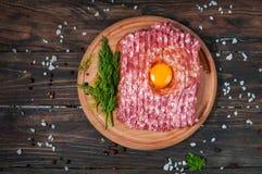 Домодельное сырцовое семенить мясо с яичком и травами крупным планом, взгляд сверху Стоковые Изображения RF