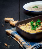 Домодельное Moussaka служило с хлебом и чатнями (восточно-европейская кухня) стоковое изображение