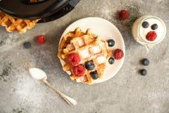 Домодельные бельгийские waffles с плодоовощами, голубиками, полениками и югуртом леса Винтажный дизайн Стоковое Изображение