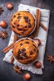 Домодельные булочки обломока шоколада пряные испекут для завтрака Стоковая Фотография