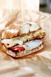Домодельные гамбургер или cheeseburger с овощами Стоковые Изображения