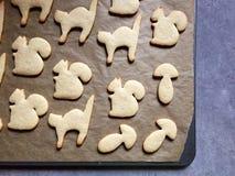 Домодельные животные форменные печенья сахара испекли, подготавливают для того чтобы украсить Стоковая Фотография
