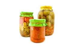 Домодельные замаринованные томаты и огурцы Стоковые Фотографии RF