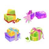 Домодельные мыла, цветки и эфирное масло баров установленные pictograms интернета икон vector вебсайт сети Стоковая Фотография