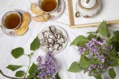 Домодельные печенья завтрака шоколада и цветки весны печенье домодельное Стоковое Изображение