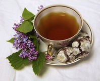 Домодельные печенья завтрака шоколада и цветки весны печенье домодельное Стоковое Фото