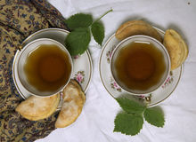 Домодельные печенья завтрака шоколада и цветки весны печенье домодельное Стоковая Фотография