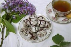 Домодельные печенья завтрака шоколада и цветки весны печенье домодельное Стоковые Фотографии RF