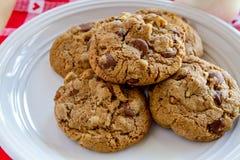 Домодельные печенья обломока шоколада с грецкими орехами Стоковая Фотография