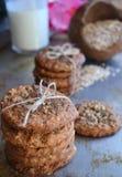 Домодельные печенья овсяной каши на подносе металла Стоковая Фотография