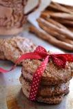 Домодельные печенья овсяной каши на подносе металла Стоковые Фото