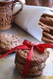 Домодельные печенья овсяной каши на подносе металла Стоковые Изображения