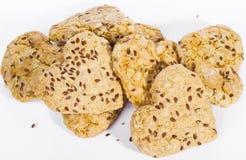 Домодельные печенья с семенем льна на белой предпосылке Стоковая Фотография
