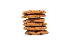 Домодельные печенья шоколада изолированные на белизне Стоковая Фотография