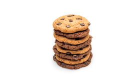 Домодельные печенья шоколада изолированные на белизне Стоковая Фотография RF