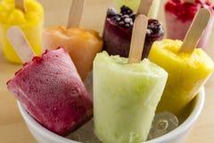 Домодельные свежие Pureed Popsicles замерли плодоовощ, который Стоковые Изображения