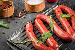 Домодельные сырцовые сосиски говядины Стоковые Фото