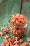 Домодельные candied части сквоша butternut в стеклянных опарнике и scatte Стоковые Изображения RF