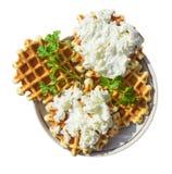 Домодельные waffles с сыром и травами Стоковое Изображение