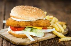 Домодельный бургер рыб Стоковое Изображение