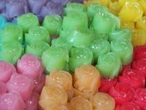 Домодельный десерт в розовой форме, Khanom Chan торта слоя традиционный тайский Стоковое Фото