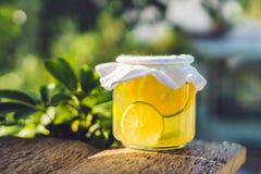Домодельный заквашенный сырцовый чай Kombucha готовый для того чтобы выпить с апельсином и известкой Лето Стоковая Фотография RF