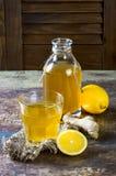 Домодельный заквашенный сырцовый чай kombucha лимона имбиря Здоровое естественное probiotic приправленное питье скопируйте космос Стоковая Фотография