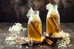Домодельный заквашенный чай kombucha циннамона и имбиря настоял с elderflower Здоровое естественное probiotic приправленное питье Стоковое Фото