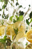 Домодельный лимонад в опарнике каменщика Стоковые Фотографии RF