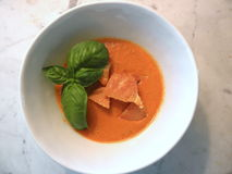Домодельный органический доморощенный суп томата Heirloom с гренком и свежим базиликом Стоковые Фото