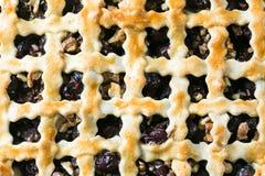 Домодельный пирог вишни с грецкими орехами и кудрявой коркой Стоковое Фото