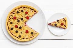 Домодельный пирог поленики с сливк и shtreyzel творога Стоковое Фото
