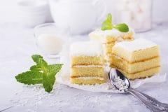 Домодельный свежий торт губки в сливк кокоса и хлопья на пиршестве служили в частях серая предпосылка стоковое изображение